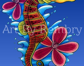 Seahorse and Flowers Art Print