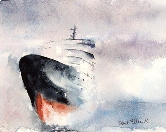 Original watercolor painting  of a boat in the fog on the sea, original painting of a ship in the mist on the ocean