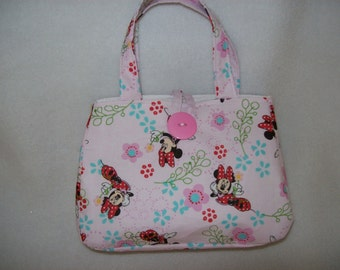 Minnie Mouse Little Girls Handbag,Pink with Minnie Mouse print,7 x 5 x 2  in,Button to close