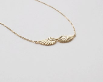 Angel Wing Necklace,  Gold Wing Necklace , Delicate Minimalist Necklace in Sterling Silver, Gold, Rose Gold #D103