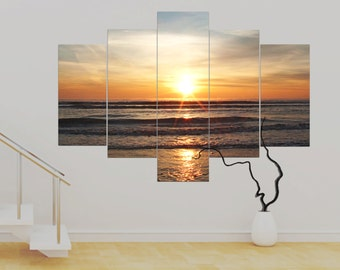 Copper Skies 5 panel Canvas Sunset over the sea (over 1 metre)  photo Print Canvas Wall Art Unframed Canvas Contemporary Modern!