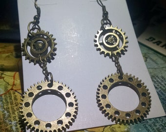 Double gear steampunk earrings