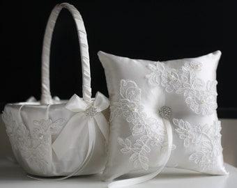 White Flower Girl Basket \ White Ring Bearer Pillow \ White Wedding Basket \ White Wedding Pillow / white lace bearer Basket Pillow Set
