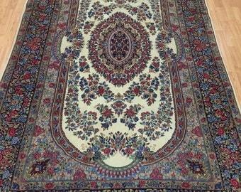 "4'9"" x 7'9"" New Persian Kerman Oriental Rug - Very Fine - Hand Made - 100% Kork Wool"
