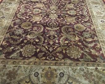 "8'4"" x 12' Indian Agra Oriental Rug - Hand Made - Full Pile - 100% Wool"