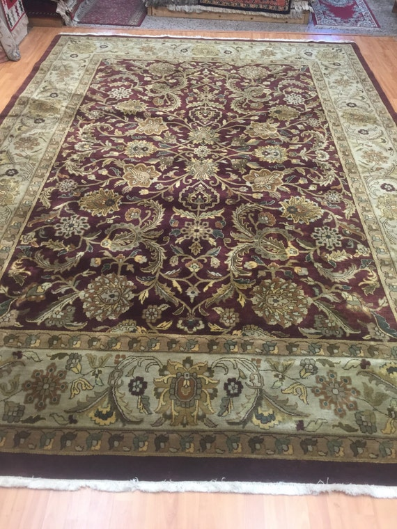 "8'4"" x 12' Indian Agra Oriental Rug - Hand Made - Full Pile - 100% Wool"