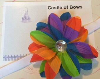 "Rainbow Large 4"" Flower Baby Headband with Rhinestone Center - Headband or Hair Clip - You Pick Headband Color"