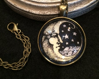 Vintage Man in the Moon and Stars Bronze or Silver Pendant Necklace Celestial Mystical Wiccan Gothic