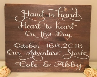 Hand by hand,heart to heart on this day our adventure starts-Personalized Wedding sign -Bridal Shower gift-Anniversary gift-Custom wood sign
