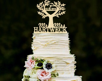 Tree cake topper Wedding Rustic cake topper Wood cake topper Custom cake topper Last Name topper Gold cake topper Silver cake topper