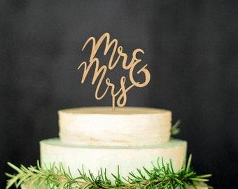Mr Mrs Wedding Cake Topper Wood Cake Topper Gold Topper Silver Cake Toper
