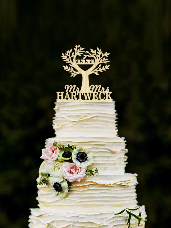 rustic wooden wedding cake toppers tree cake topper wedding rustic cake topper wood cake topper 19597