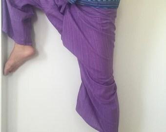 Purple Thai Fisherman Pants - 100% Cotton