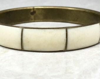 Bone Bracelet, Vintage Bone, Bone Bangle, Bohemian Bangle, Vintage Boho, Vintage Brass, Brass Bracelet, Boho Bangle, Bone Inlay Bracelet