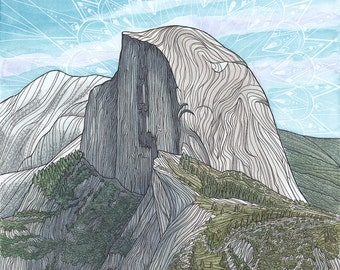 Rock Climbing Art Giclee Print - Half Dome, Yosemite National Park, California - Watercolor and Pen Landscape Painting -11x14