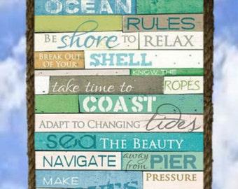 Ocean House Rules Wood Wall Decor Art 9 X 11 Rope Frame Beach