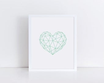 Mint Art, Mint Green Geometric Heart, Modern Nursery Art, Nursery Decor, Mint Nursery Wall Art, Modern Printable Art, Poster Print