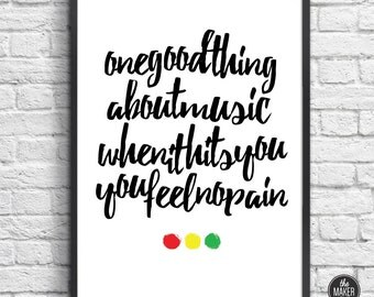 Bob Marley, Music, Art Print, Instant Download, Wall Decor, Rasta, Black and White, Quotes, Printable
