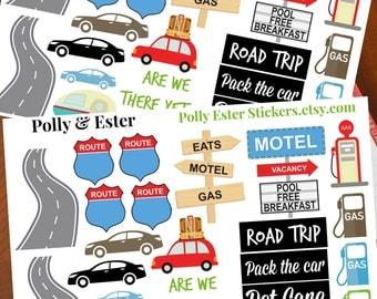 Travel Planner Stickers, Road Trip, Vacation Planner Stickers, Erin Condren Stickers, Happy Planner Stickers, Filofax, Kikki K, Trip Journal