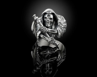 925 sterling silver grim reaper ring