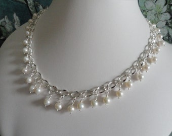 Pearl necklace and earring set  -   #442