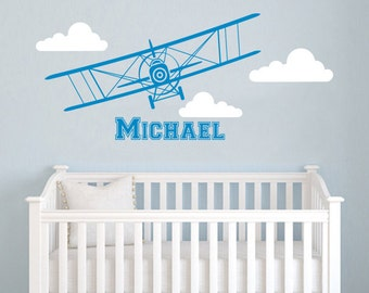 Airplane Wall Decal Name Vinyl Sticker Personalized Custom Name Biplane Clouds Decals Plane Kids Baby Name Boys Nursery Room Decor Art ZX223