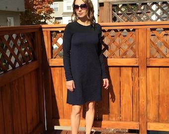 Black & Midnight Blue Dress / Short Dress / Long sleeved Dress