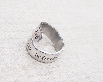Personalized wrap ring, she believed she could so she did, adjustable twist ring, gift for her, motivational jewelry, gift for runner