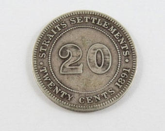 Straits Settlements 1891 Silver 20 Cents Coin.