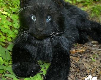 Panther Tayva - handmade stuffed animal toy