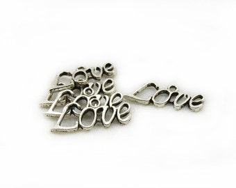 Love Charms, Antiqued Love Charms, 5 pcs Love Charms, Metal Charms, Jewelry Making, Craft Supplies