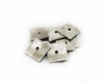 17mm Spacer Beads, Square Spacer Beads, Square Beads, Metal Spacer Beads, Jewelry Making, 7 pcs Spacer Beads, Metal Spacer Beads