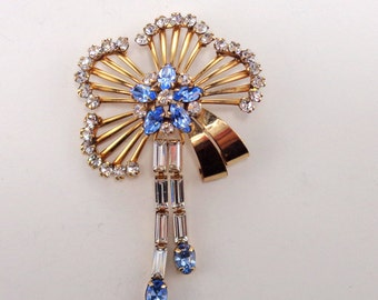 Long Retro Gold GF Blue Clear Crystal Dangling Rhinestone Brooch or Pendant Scitarelli Creations by Phyllis
