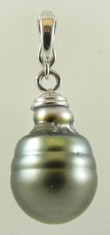 Tahitian Black 12.7 mm x 18.5 mm Pearl Pendant 14k White Gold