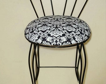 Black vanity chair- make up vanity chair/seat/stool- with a black and white seat hollywood regency shabby chic bedroom vanity