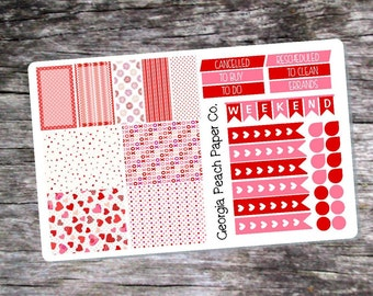 Valentines Day Themed Planner Stickers - Made to fit Vertical Layout