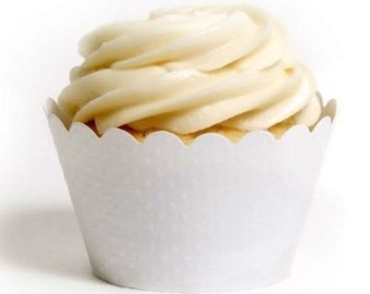 White Cupcake Wrappers   Scallop Standard Size Liners   Solid Color