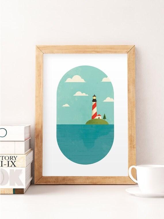 nursery decor nursery wall art lighthouse print nautical. Black Bedroom Furniture Sets. Home Design Ideas