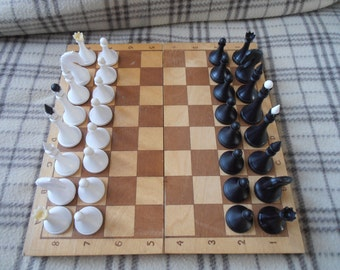 Small wooden chess set ussr made