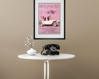 FRAMED WALL ART, Vintage Mercedes Benz Advertisement, Matted And Framed Art Print, Gallery Wall Art, Black Or  White Frames
