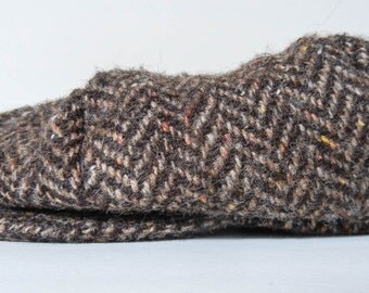 Vintage Hanna Hats of Donegal Ltd Made in Ireland Newsboy Cap Brown Plaid Wool Hat Size Large