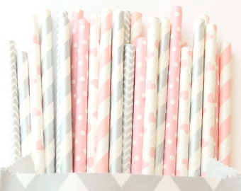 Pink and silver paper straws, set of 25, baby showers, weddings, pink and silver straws, pink heart straws, pink elephant party