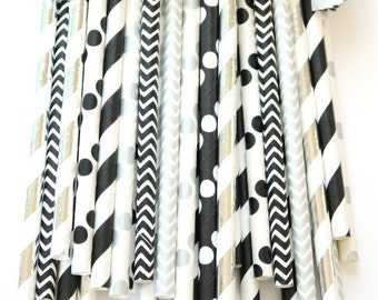 Black and silver straws-set of 25- baby showers, wedding straws, black and silver, hollywood parties, birthday parties