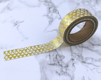 White & Gold Foil Triangle Pyramid Washi Tape // Decorative Paper Masking Drafter Planner Scrapbooking Tape