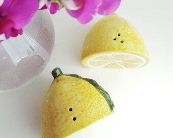 Vintage Lemon Salt & Pepper Shakers - Fruit Kitsch Kitchen - Lemon Yellow