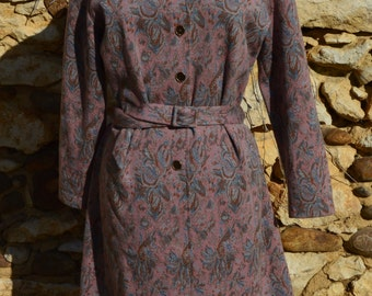 Vintage Floral Dress with Collar and Sleeves 100% Wool