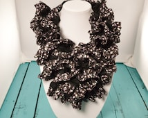 20% SALE! Lightweight Scarf - Ruffle Scarf - Women's Scarf - Crochet Ruffle Scarf - Infinity Scarf - Flower Scarf - Gifts for Her