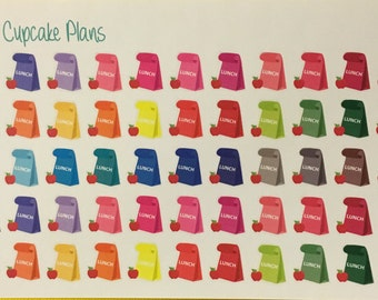 Colorful Lunch Bags and Apple Planner Stickers