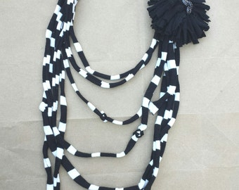 Upcycled Repurposed fabric multi strand necklace with flower black and white