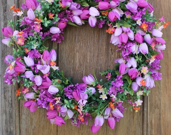 Spring Wreath, Tulip Wreath, Lilac Wreath, Spring Decor, Front Door Wreath, Magenta Wreath, Boxwood Wreath, Mother's Day Wreath, Summer